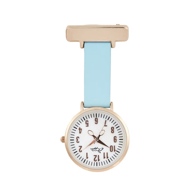 Annie Apple Blue Leather and Rose Gold, Mother of Pearl Nurse Fob Watch Ladies