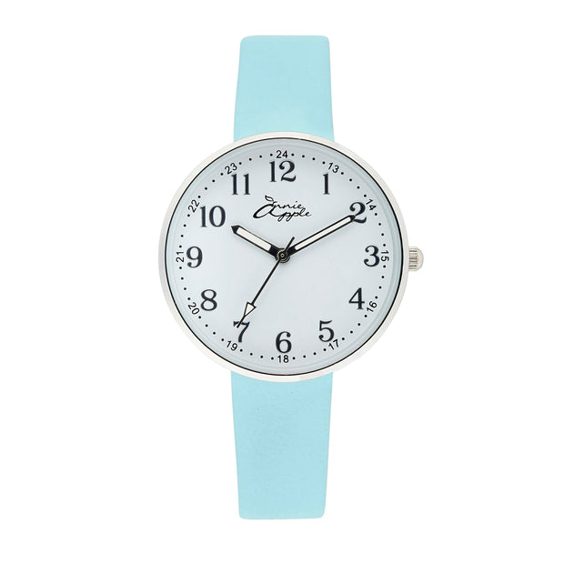 Annie Apple Empress Interchangeable Blue Leather, Silver Mesh Wrist to Nurse Watch Ladies
