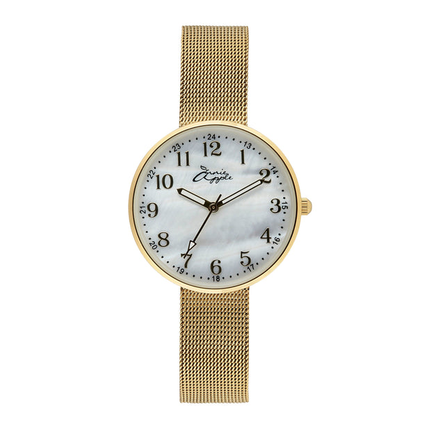 Annie Apple Empress Interchangeable Mother of Pearl, Gold Mesh Wrist to Nurse Watch