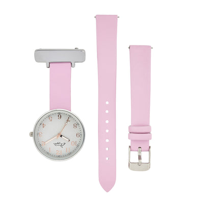 Annie Apple Empress Interchangeable Silver, Pink Leather Wrist to Nurse Watch Ladies