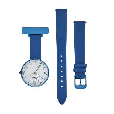 Annie Apple Empress Interchangeable Silver, Blue Leather Wrist to Nurse Watch Ladies