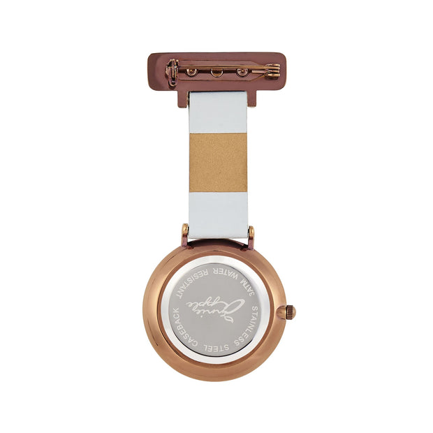 Annie Apple Grey Leather, Brown and Rose Gold Nurse Fob Watch Ladies