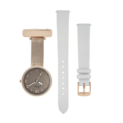 Annie Apple Empress Interchangeable Grey Leather, Rose Gold Mesh Wrist to Nurse Watch Ladies