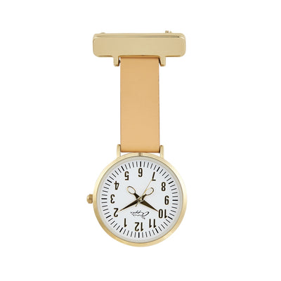 Annie Apple Tan and Gold Nurse Fob Watch Ladies