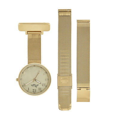 Annie Apple Empress Interchangeable Gold Mesh Wrist to Nurse Watch Ladies