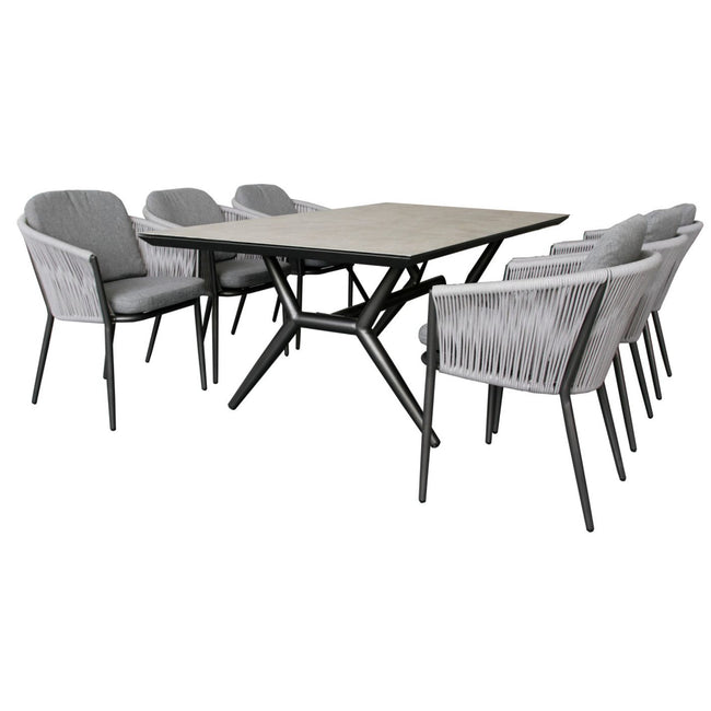 7 Pce Rectangular Outdoor Dining Set-Charcoal - First Choice Furniture