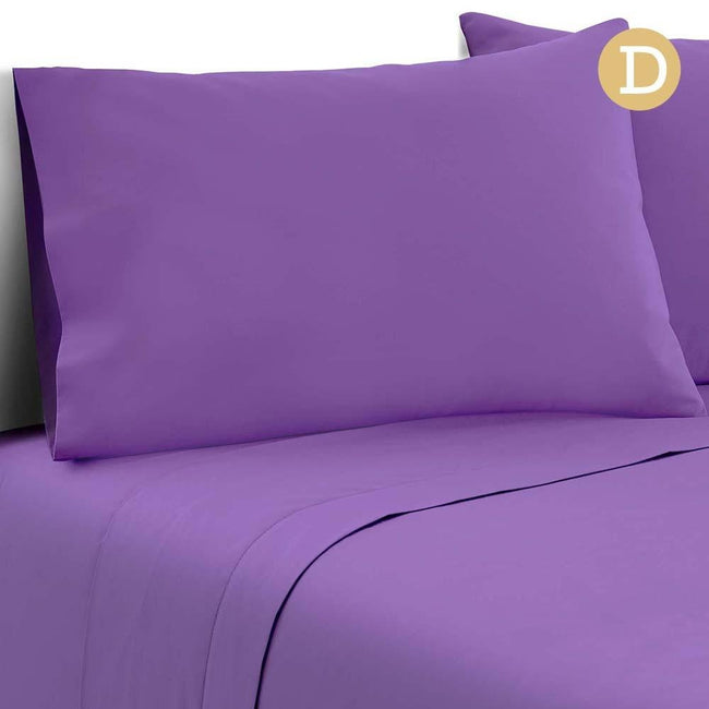 Giselle Bedding Double Size 4 Piece Micro Fibre Sheet Set - Purple - First Choice Furniture