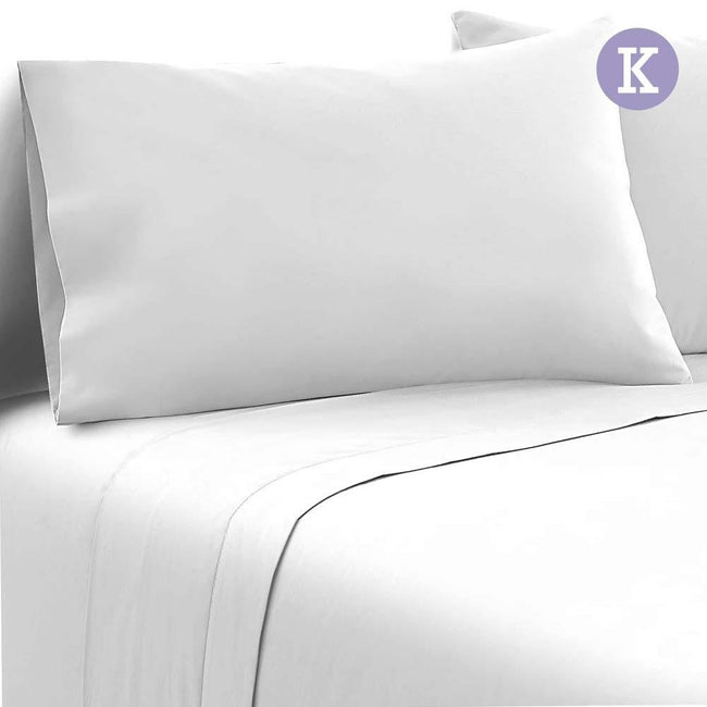 Giselle Bedding King Size 4 Piece Micro Fibre Sheet Set - White - First Choice Furniture