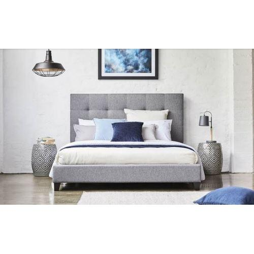 MELINA FABRIC QUEEN  BED FRAME - LIGHT GREY - First Choice Furniture