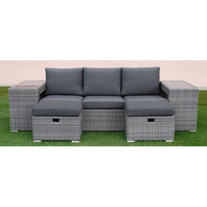 Polo 5pc Sofa Set-Dark Grey vivin