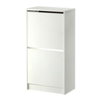 IKEA BISSA SHOE CABINET WITH 2 COMPARTMENTS WHITE