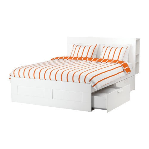 IKEA BRIMNES QUEEN BED FRAME WITH HEADBOARD COMBO