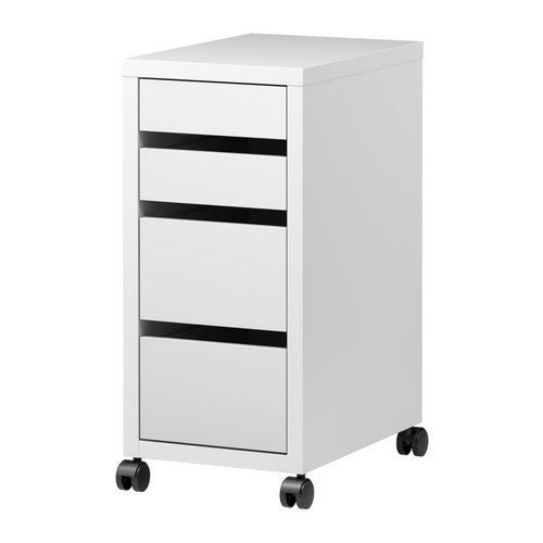 IKEA MICKE DRAWER UNIT ON CASTORS 35X75CM WHITE