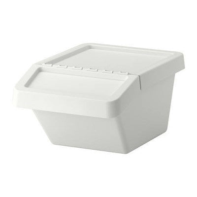 IKEA SORTERA WASTE SORTING BIN WITH LID 37L WHITE