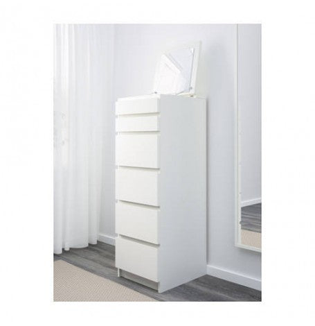 IKEA MALM CHEST OF 6 DRAWERS WITH MIRROR 123CM x 40CM
