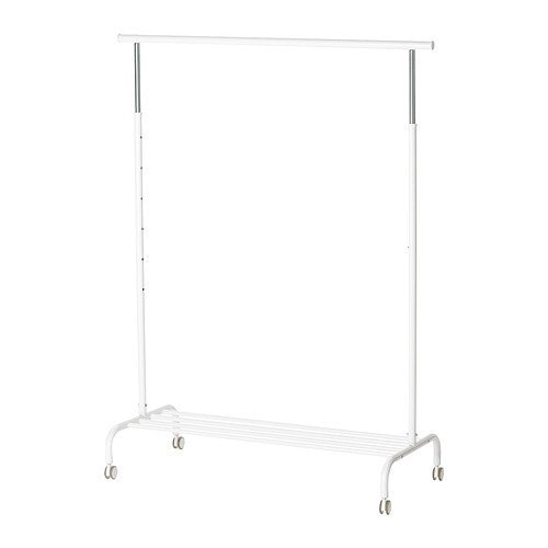 IKEA RIGGA CLOTHES RACK ADJUSTABLE HEIGHT WHITE