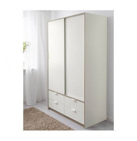 IKEA TRYSIL WARDROBE WITH SLIDING DOORS 4 DRAWERS 202X118X61CM WHITE