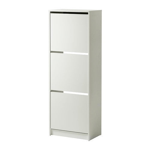 IKEA BISSA SHOE CABINET WITH 3 COMPARTMENTS WHITE