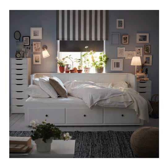IKEA HEMNES DAY BED FRAME WITH 3 DRAWERS WHITE 200CM x 80CM WITH 2 HUSKIVA MATTRESSES