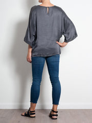Elizabeth Scott Satin Top Georgette Sleeve - Impulse Boutique