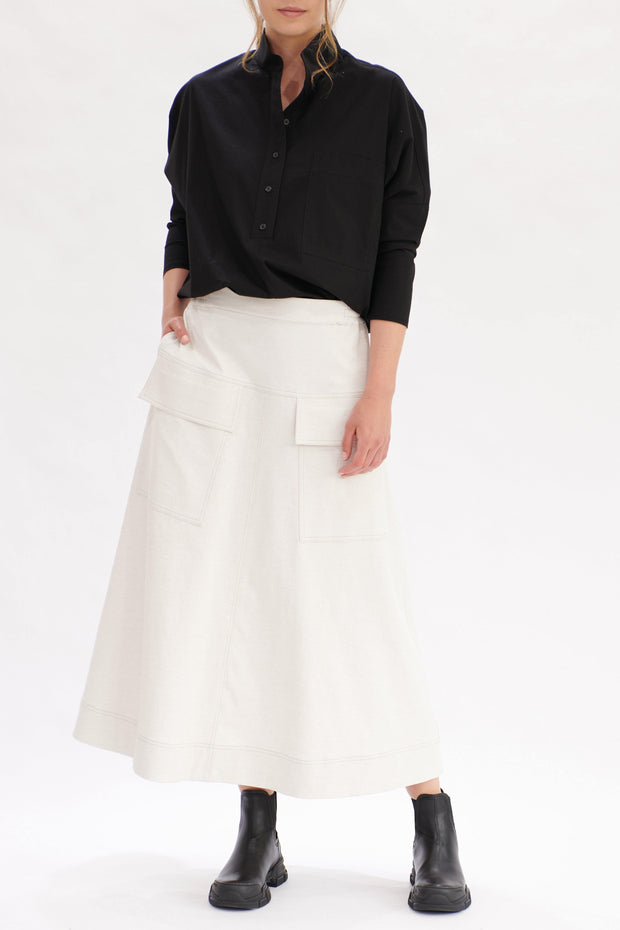 Mela Purdie Duo Pocket Skirt Polished Canvas