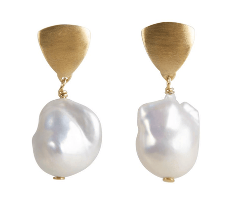 Fairley Baroque Pearl Shield Drop Earrings Gold - Impulse Boutique