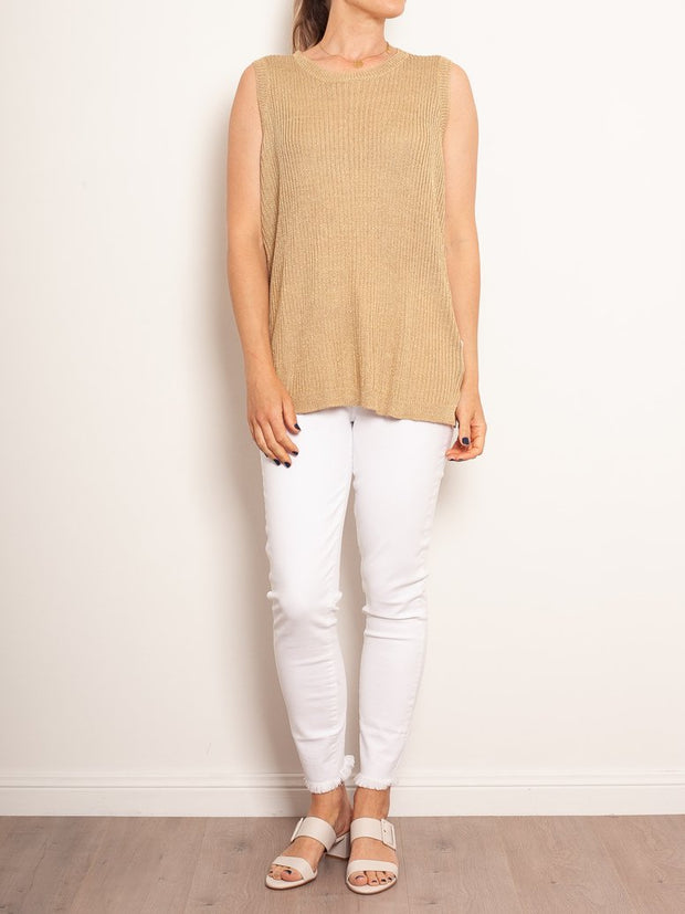 M.A. Dainty Lillith Gold Knit Tank