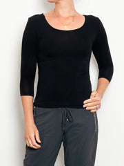 Tani 3/4 Sleeve Scoop Top - Impulse Boutique