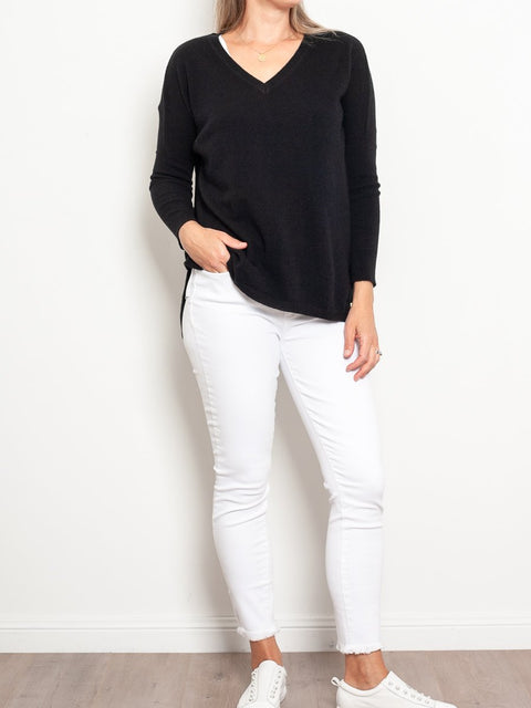 Mia Fratino Cashmere Essentials V Neck Boyfriend Sweater - Impulse Boutique