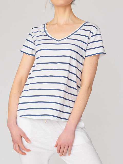 Lulu Organic Cotton Melrose V Neck Tee Stripe PRE ORDER - Impulse Boutique