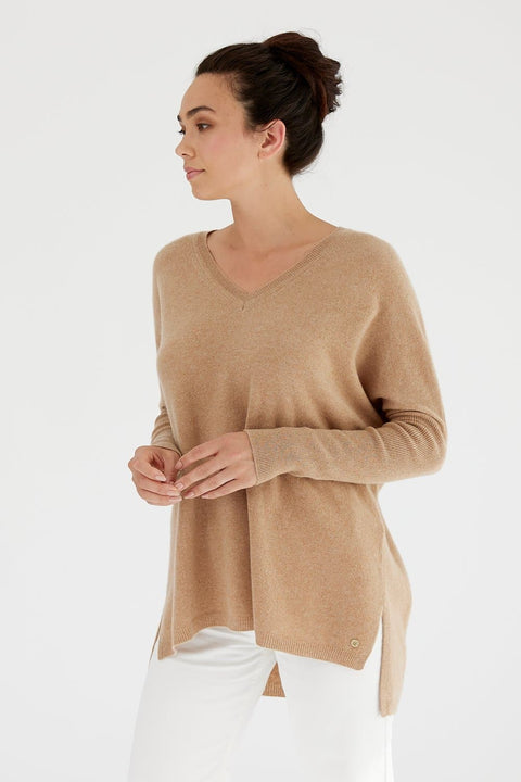 Mia Fratino Cashmere Essentials V Neck Boyfriend Sweater