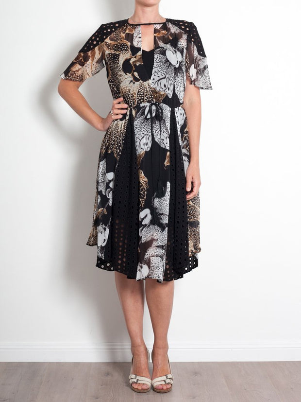 Once Was Collage Cut Out Dress Floral