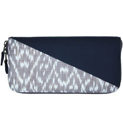 IKAT ZIP AROUND WALLET IN STONE