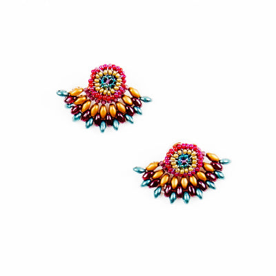 FEATHERED PLUME BOHO EAR JACKETS: MOROCCAN