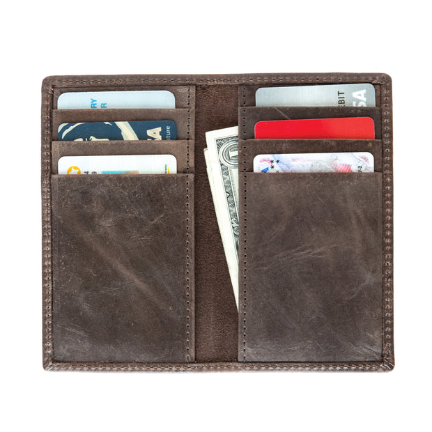 VERTICAL BIFOLD LEATHER WALLET
