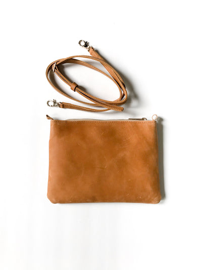 CARAMEL LEATHER PASSPORT BAG