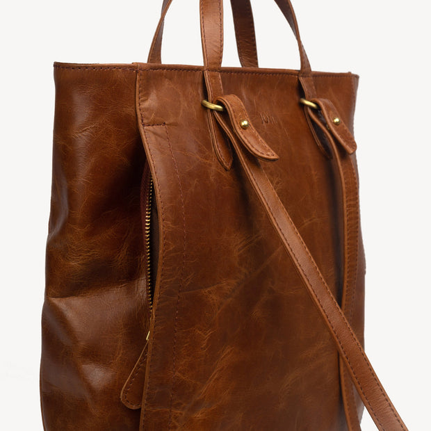 LEATHER TOTE PACK: CHOCOLATE