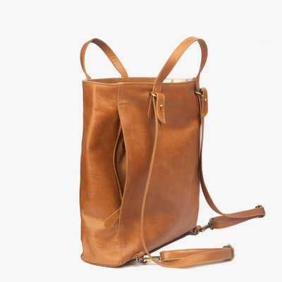 LEATHER TOTE PACK: CAMEL