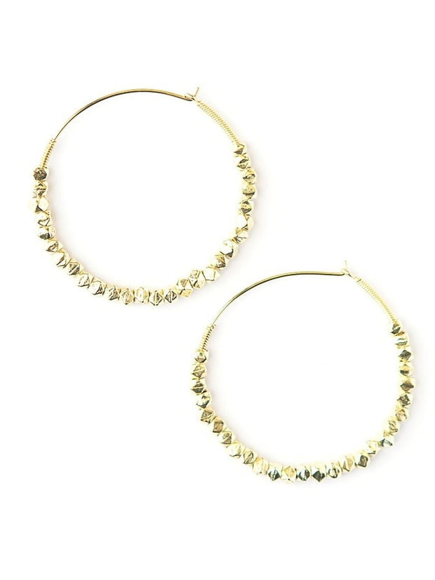 GOLDEN GLOW BEADED HOOPS