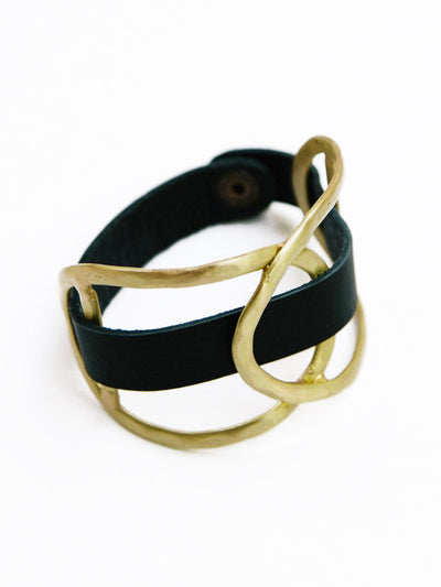 LEATHER WRAP GOLD CUFF