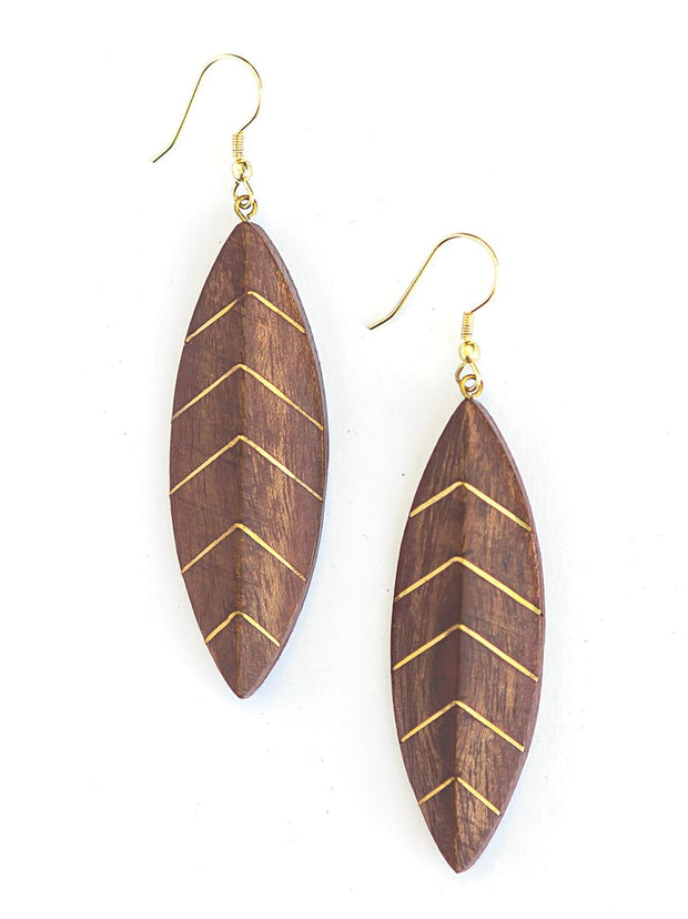 BRASS VEIN LEAF EARRINGS