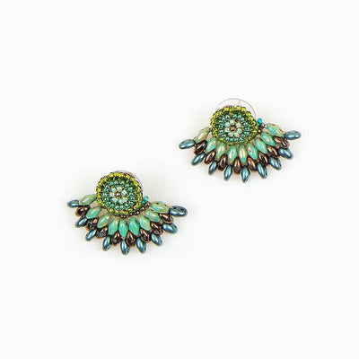 FEATHERED PLUME BOHO EAR JACKETS: JADE