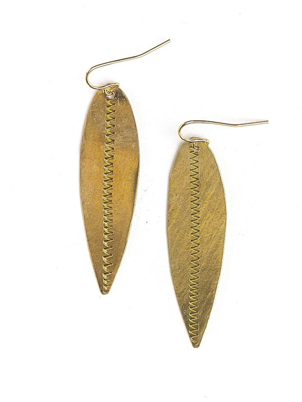 BRASS LEAF ARTILLERY EARRINGS