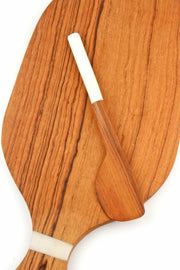 OLIVE WOOD BUTTER SPREADER W/ WHITE BONE HANDLE
