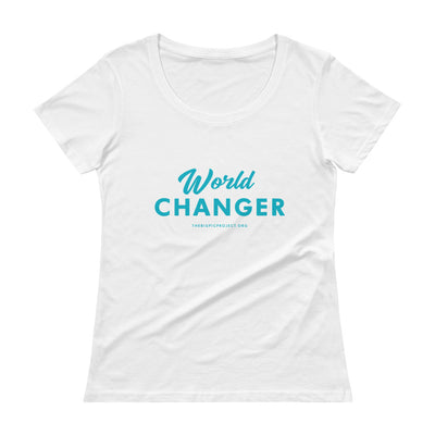 WORLD CHANGER Blue Ladies' Scoopneck T-Shirt
