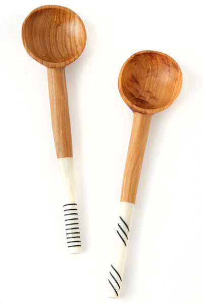 WILD OLIVE WOOD STYLISH COFFEE SCOOP WITH SIMPLE BLACK LINES