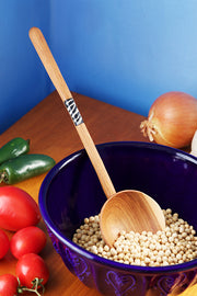 WOOD LOLLIPOP COOKING SPOON WITH BONE INLAY