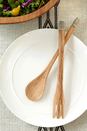 SLENDER WILD OLIVE WOOD SALAD SERVERS WITH ETCHED BONE HANDLES