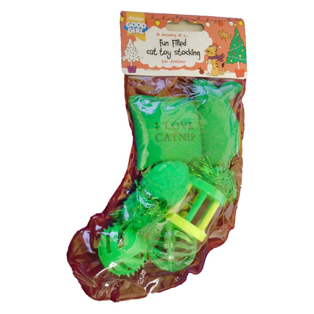 Cat Christmas Stocking - Green