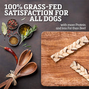 Buffalo Range Natural, Grain Free Jerky Braid Rawhide Chews for Dogs 5pc